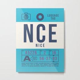 Baggage Tag B - NCE Nice Cote d'Azur France Metal Print