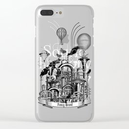 collage, vintage, engraving, factory, production, sound, noise, music, trumpet, horn, pipe, Clear iPhone Case