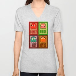 Inky, Pinky, Blinky and Clyde Unisex V-Neck