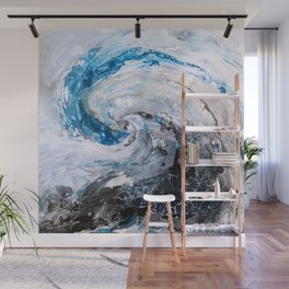 Ocean wave - blue and gold abstract seascape Wall Mural