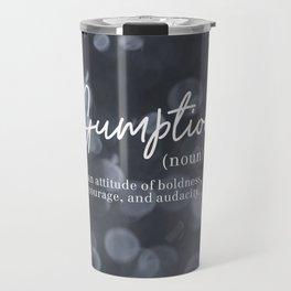 Gumption Definition - Word Nerd - Gray Bokeh Travel Mug