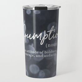 Gumption Definition - Word Nerd - Gray Bokeh Travel Mug