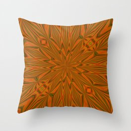 Autumnal Leaves Red Green and Amber Abstract Kaleidoscope Throw Pillow