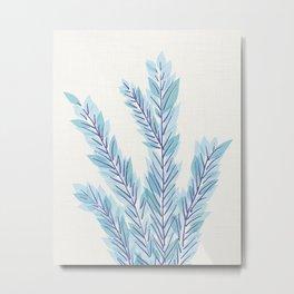 Blue Juniper Branches Botanical Metal Print