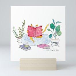 Reading cat - watercolor Mini Art Print