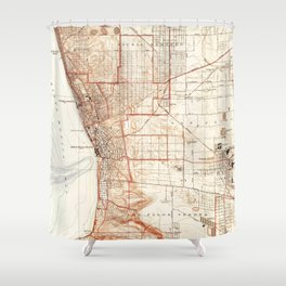 Vintage Map of Redondo Beach & Torrance CA (1934) Shower Curtain