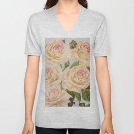 Vintage White Rose Painting (1920) Unisex V-Neck