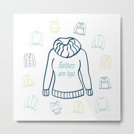 Knitters Are Tops - Nautical Metal Print