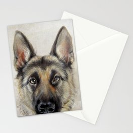 German Shepard Dog illustration original painting print Stationery Cards
