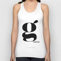 scandinavian Tank Tops featuring Letter G, Gorgeous Scandinavian Design Typography by Nordic Print Studio