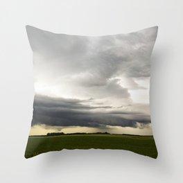 Shelf Cloud Over a Soybean Field Throw Pillow