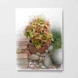 Leaves and Dew Metal Print