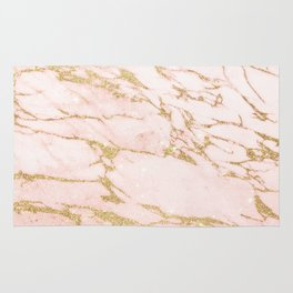 Blush pink abstract gold glitter marble Rug