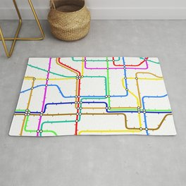 Colorful Subway Tunnel Pathway Map Rug