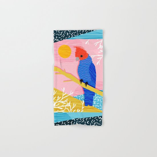Blazin - memphis throwback tropical bird art parrot cockatoo nature neon 1980s 80s style retro cool Hand & Bath Towel