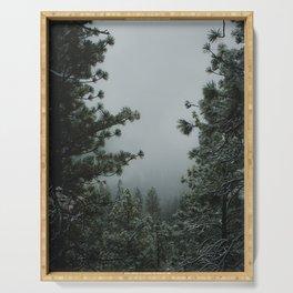 Backwoods Winter: Ponderosa Pines, Washington Serving Tray