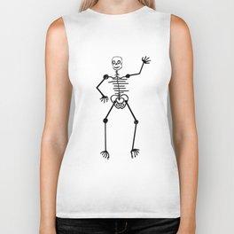 Black Skeleton on white Biker Tank
