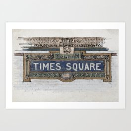 Times Square Subway New York, Tile Mosaic Sign Art Print