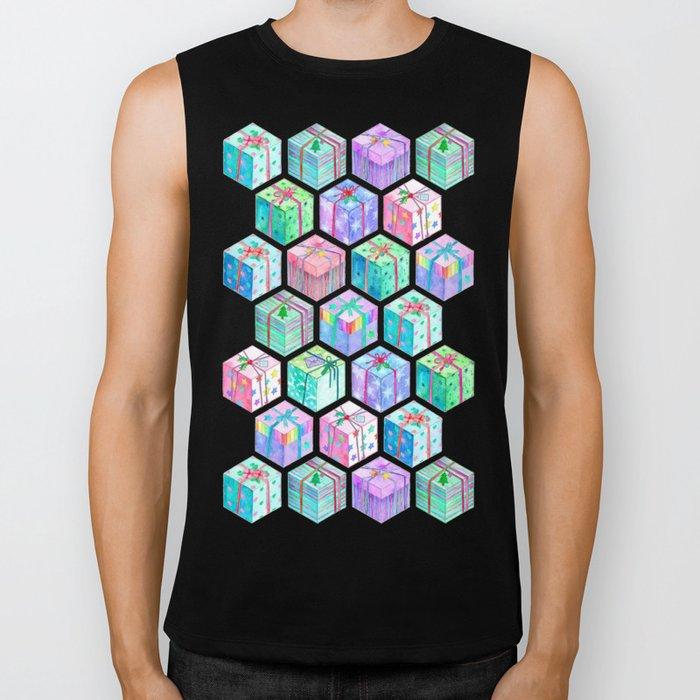 Christmas Gift Hexagons Biker Tank