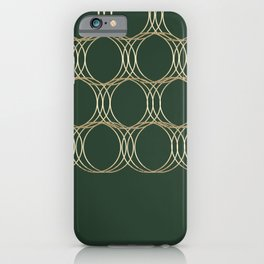 Forest green gold foil geometric circles pattern iPhone Case