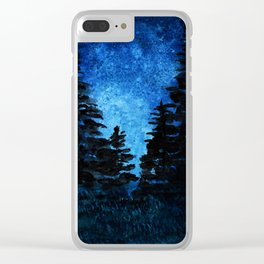 Blue Sky - Evergreen Trees Clear iPhone Case