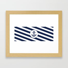 Nautical Anchor Navy Blue & White Stripes Beach Framed Art Print