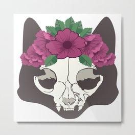La Catrina Mexico Cat Skull Dead Cult Death Gift Metal Print