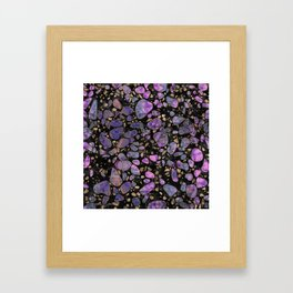 Terrazzo - Labradorite and gold on marble #1 Framed Art Print