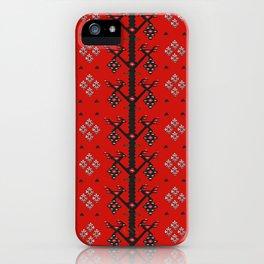 Red Tribal Ethnic Boho Kilim Love Birds iPhone Case
