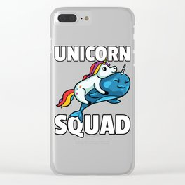 Unicorn Narwhal Whale Riding Sweet Funny Clear iPhone Case