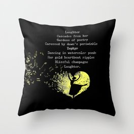 Laughter Cascades from Her Cinquain Throw Pillow