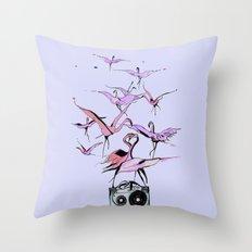 Super Sonic Flamingos  Throw Pillow