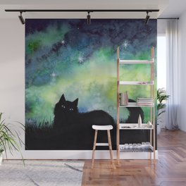 Galaxy Sky and Cat Silhouette Wall Mural