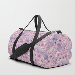 Watercolor Bird And Flower Pattern Duffle Bag