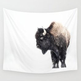 Bison Standing in a Snowstorm Wall Tapestry
