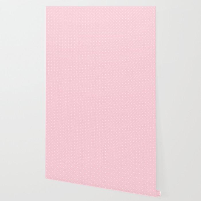Light Soft Pastel Pink Mini Polka Dot Hearts Wallpaper