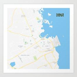 Minimalist Modern Map of Doha, Qatar 7A Art Print