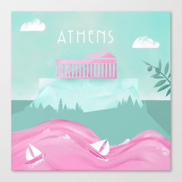 Cities in Pink - Athens Canvas Print