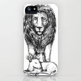 Lion Guarding Lamb Tattoo iPhone Case