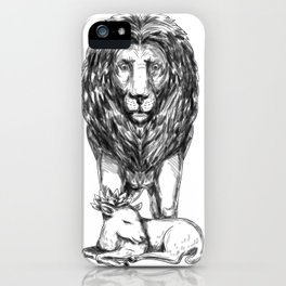 Lion Guarding Lamb Tattoo iPhone Case