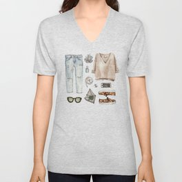 watercolor sketch. fashion outfit, casual style. Unisex V-Neck