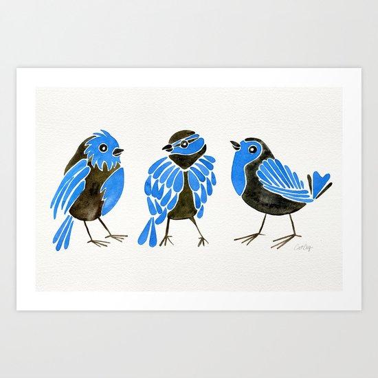 Blue Finches Art Print