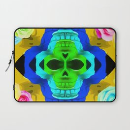 funny skull portrait with colorful roses in pink blue yellow green Laptop Sleeve
