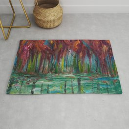 Red Trees Thick Impasto Abstract  Painting Rug