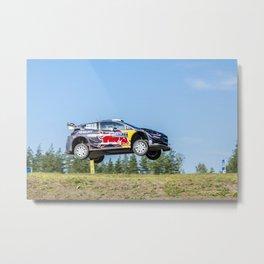 Jumping rally car Metal Print