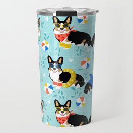 Corgi tri colored corgis pool party dog breed cute custom pet portrait by pet friendly Travel Mug