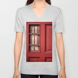 The Customary Red Door, But... Unisex V-Neck