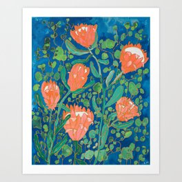 Coral Proteas on Blue Pattern Painting Art Print