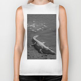 Large Crocodile Resting In The Sun Biker Tank