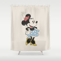 minnie mouse Shower Curtains featuring Minnie Mouse by Adel